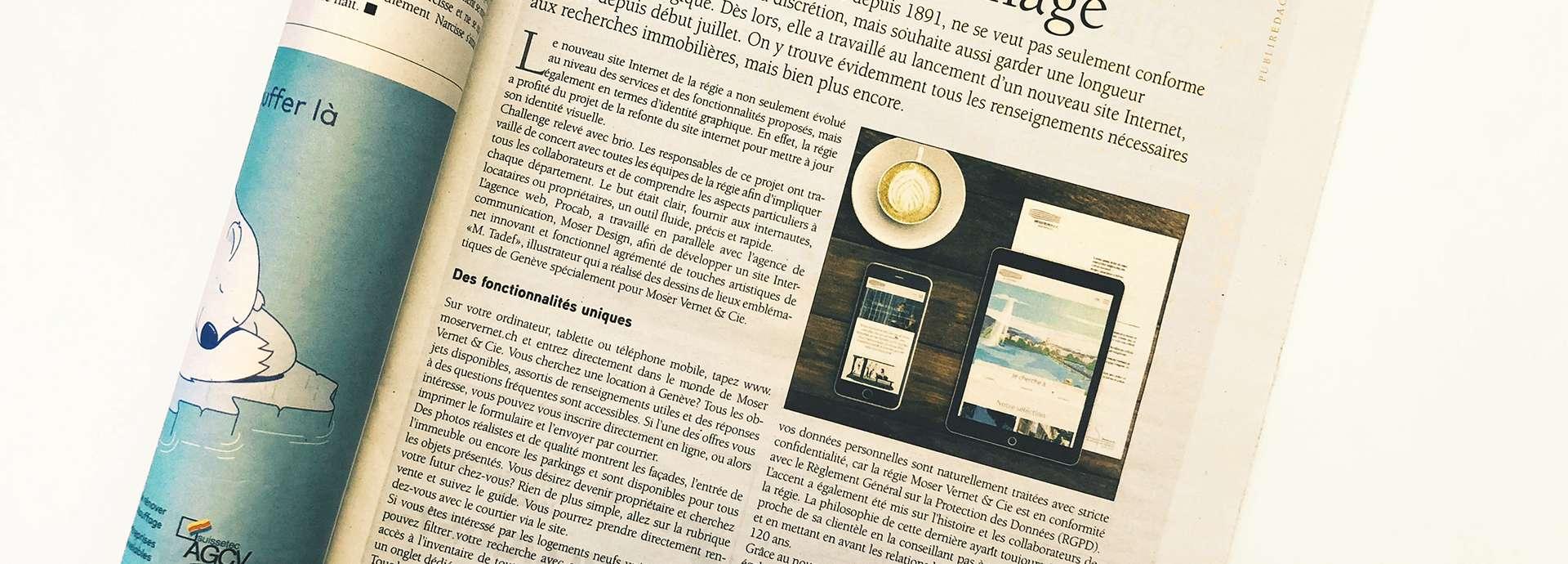 Article tout immo nouveau site internet Moser Vernet et Cie SA